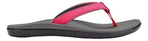 Olukai Ho'opio Girls Sandals Shoe - Dark Hibiscus/Charcoal 4Y