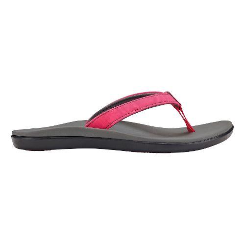 Olukai Ho'opio Girls Sandals Shoe - Dark Hibiscus/Charcoal 5Y