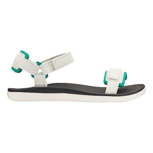 Olukai Luana Girls Sandals Shoe - White/Black 3Y