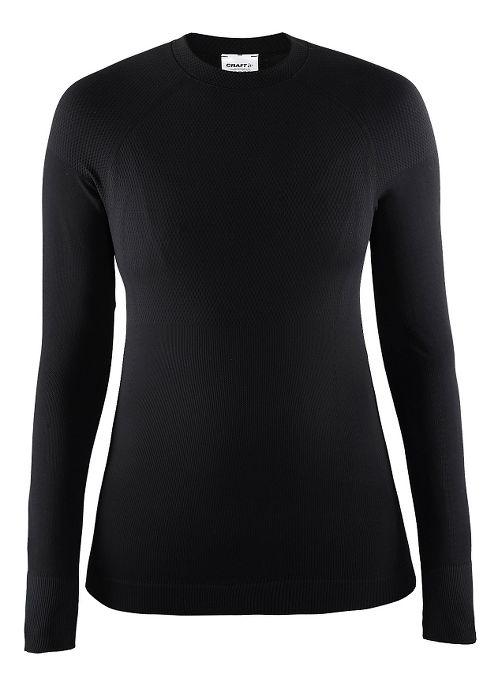 Womens Craft Warm Crewneck Long Sleeve Technical Tops - Black M