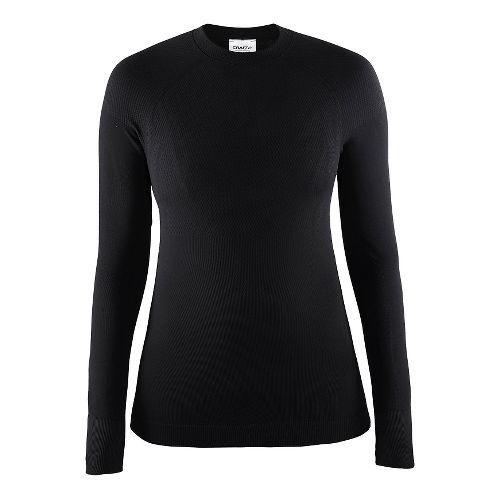 Womens Craft Warm Crewneck Long Sleeve Technical Tops - Black S