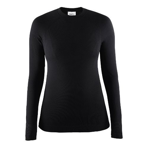 Womens Craft Warm Crewneck Long Sleeve Technical Tops - Black XS