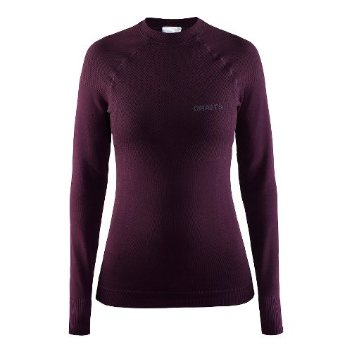 Womens Craft Warm Crewneck Long Sleeve Technical Tops - Space M