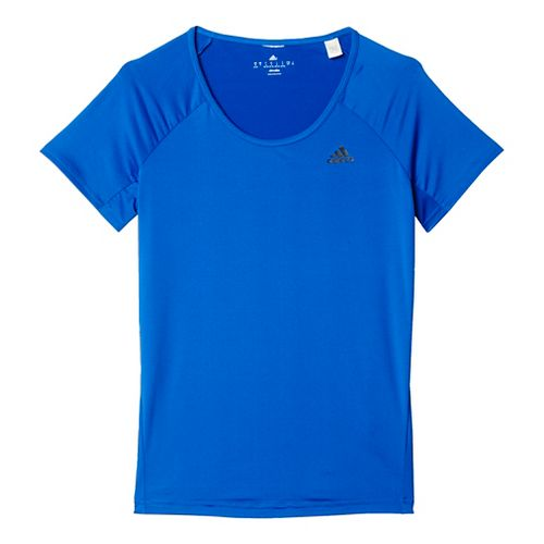 Womens Adidas Basic Performance Tee Short Sleeve Technical Tops - Bold Blue XL