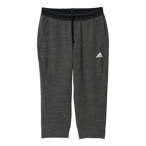 Womens Adidas Cotton Fleece 3/4 Pant Capris Pants - Pepper Black S