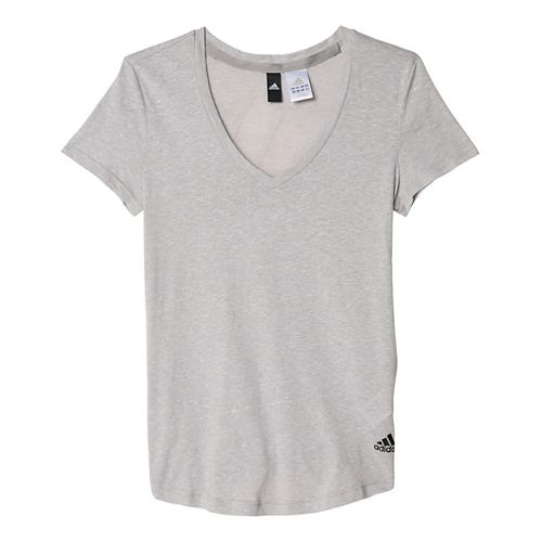 Womens Adidas Logo V-Neck Tee Short Sleeve Technical Tops - Medium Grey Heather XS