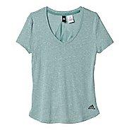 Womens Adidas Logo V-Neck Tee Short Sleeve Technical Tops