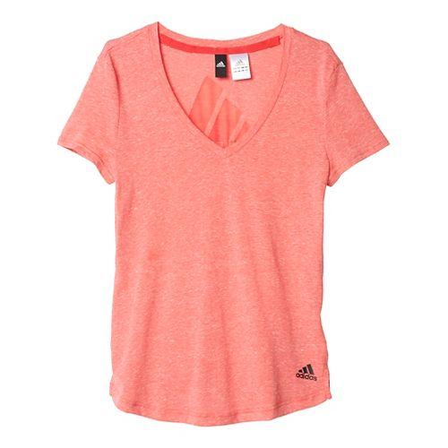 Womens Adidas Logo V-Neck Tee Short Sleeve Technical Tops - Joy M