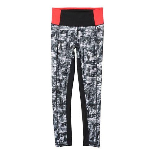 Womens Adidas Performer High-Rise Printed Tights & Leggings Pants - White/Silver XL