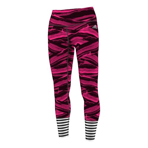 Womens Adidas Performer High-Rise Printed Tights & Leggings Pants - Shock Pink/Silver L