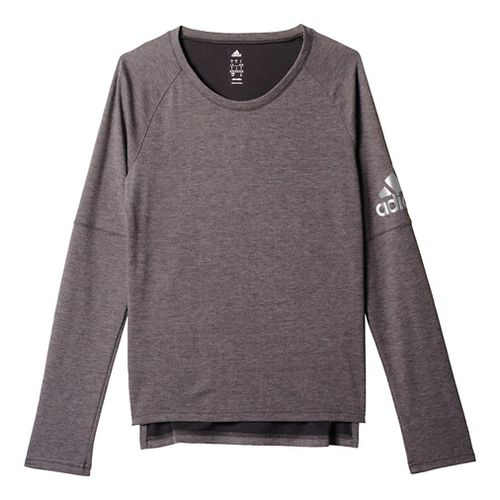 Womens Adidas Performer Cover-Up Long Sleeve Technical Tops - Black/Silver M