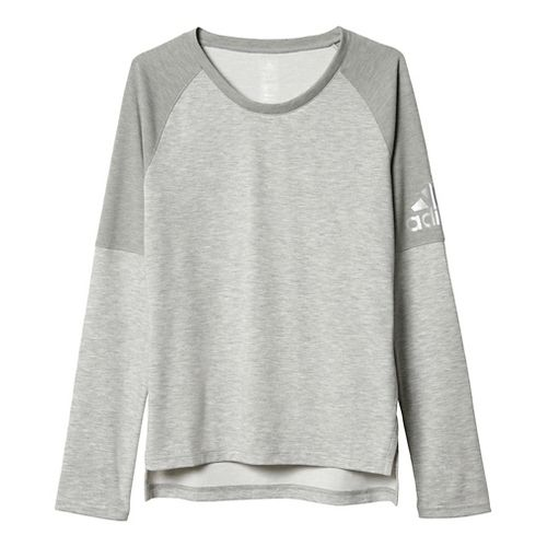 Womens Adidas Performer Cover-Up Long Sleeve Technical Tops - Medium Grey Heather XL