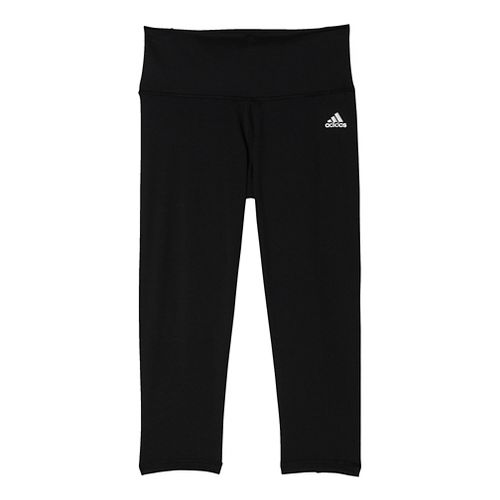 Womens Adidas Performer Mid-Rise 3/4 Tights & Leggings Pants - Black/Silver 2XL