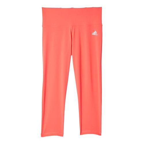 Womens Adidas Performer Mid-Rise 3/4 Tights & Leggings Pants - Shock Red/Silver M