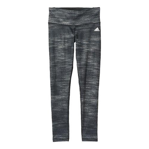 Womens Adidas Performer Mid-Rise Tights & Leggings Pants - Black Heather/Silver M