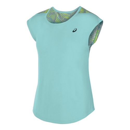 Womens ASICS Novel-Tee Short Sleeve Technical Tops - Aqua Splash L