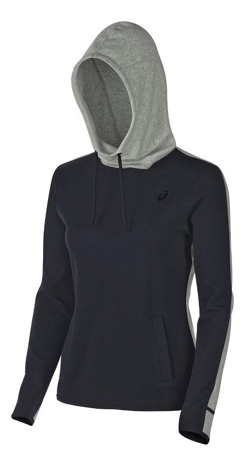 Womens ASICS Pullover Half-Zips & Hoodies Technical Tops - Balance Black XS
