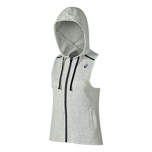 Womens ASICS Racerback Hooded Vest Sleeveless & Tank Tops Technical Tops - Light Grey Heather ...