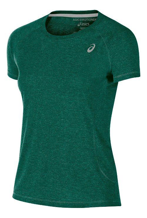 Womens ASICS TM Essential Tee Short Sleeve Technical Tops - Forest XL