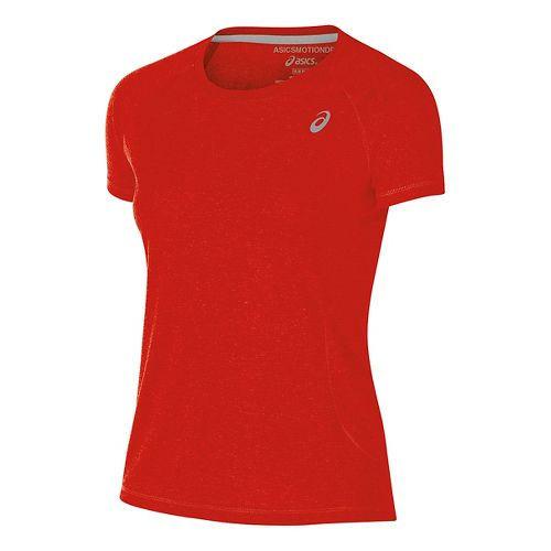 Womens ASICS TM Essential Tee Short Sleeve Technical Tops - Red M