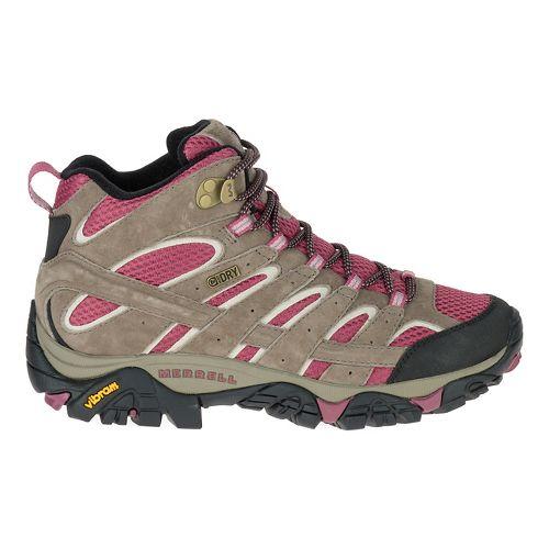 Womens Merrell Moab 2 Mid Waterproof Hiking Shoe - Boulder/Blush 7.5
