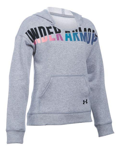 Under Armour Girls Favorite Fleece Half-Zips & Hoodies Technical Tops - True Grey Heather YXL