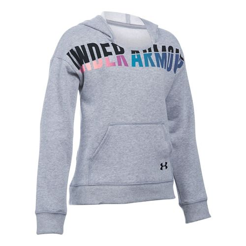 Under Armour Girls Favorite Fleece Half-Zips & Hoodies Technical Tops - True Grey Heather YM ...