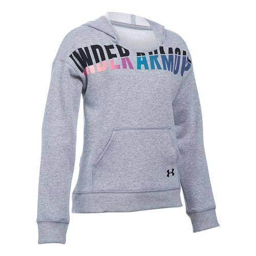 Under Armour Girls Favorite Fleece Half-Zips & Hoodies Technical Tops - True Grey Heather YXS ...