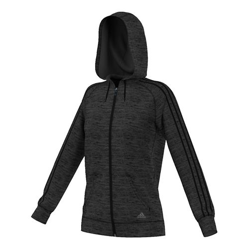 Womens Adidas Team Issue 3-Stripe Fleece Full-Zip Casual Jackets - Black Heather S
