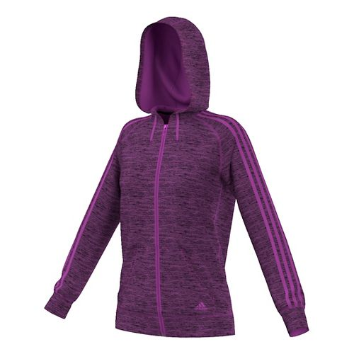 Womens Adidas Team Issue 3-Stripe Fleece Full-Zip Casual Jackets - Shock Purple Heather L