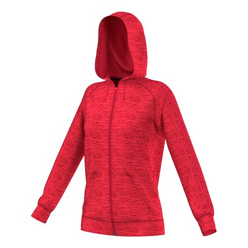 Womens Adidas Team Issue 3-Stripe Fleece Full-Zip Casual Jackets - Red Heather M
