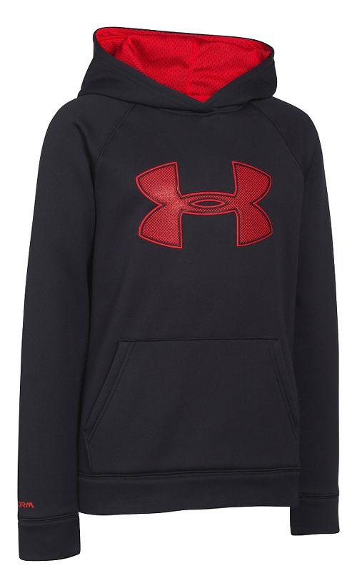 Kids Under Armour Fleece Storm Big Logo Hoody Half-Zips & Hoodies Technical Tops - Black/Risk ...