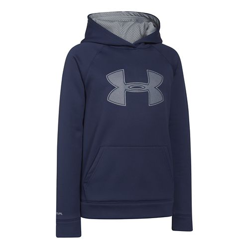 Kids Under Armour Fleece Storm Big Logo Hoody Half-Zips & Hoodies Technical Tops - Blue ...
