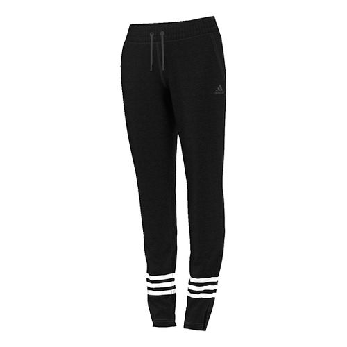 Womens Adidas Team Issue 3-Stripe Fleece Pants - Black Heather S