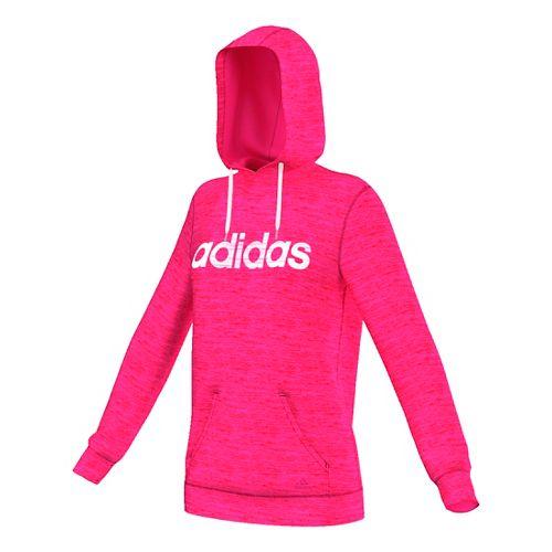 Womens Adidas Team Issue Fleece Pullover Logo Half-Zips & Hoodies Technical Tops - Shock Pink ...