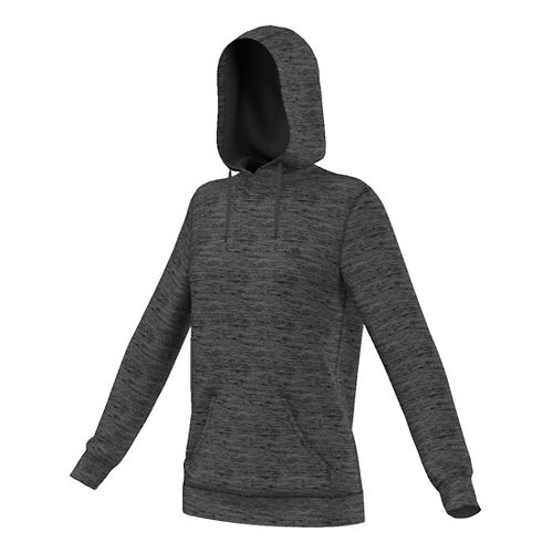 Womens Adidas Team Issue Fleece Pullover Half-Zips & Hoodies Technical Tops - Black Heather L ...