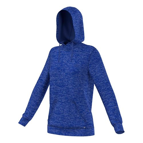 Womens Adidas Team Issue Fleece Pullover Half-Zips & Hoodies Technical Tops - Bold Blue Heather ...
