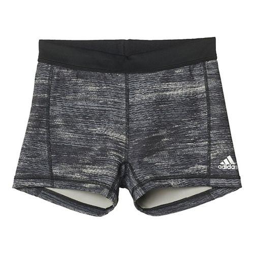 Womens Adidas Techfit Boy Short Compression & Fitted Shorts - Black Print/Silver XL