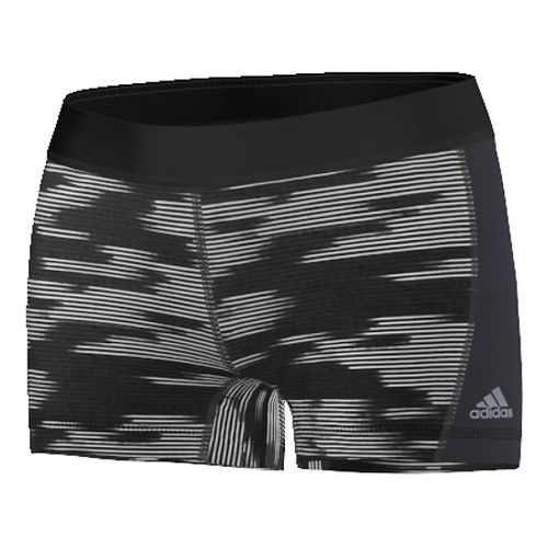 Womens Adidas Techfit Printed Boy Short Compression & Fitted Shorts - Black/Silver XL