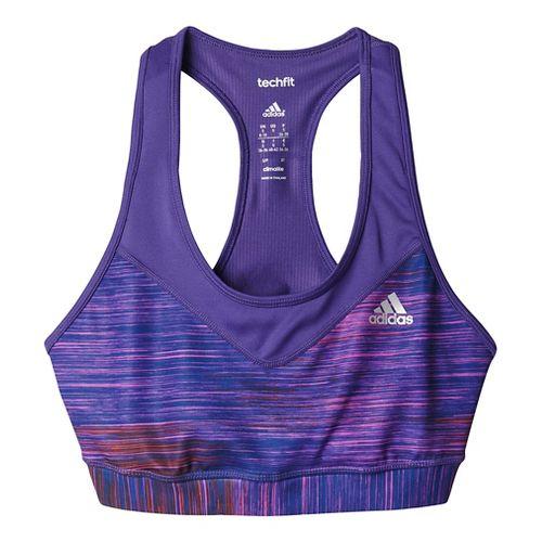 Womens Adidas Techfit Sports Bras - Unity Purple Print L