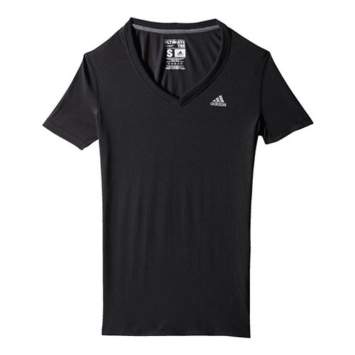 Womens Adidas Ultimate V-Neck Tee Short Sleeve Technical Tops - Black/Silver XL