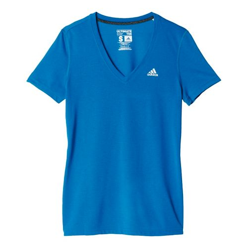 Womens Adidas Ultimate V-Neck Tee Short Sleeve Technical Tops - Unity Blue/Silver XL