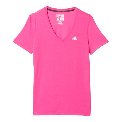 Womens Adidas Ultimate V-Neck Tee Short Sleeve Technical Tops - Shock Pink/Silver XS