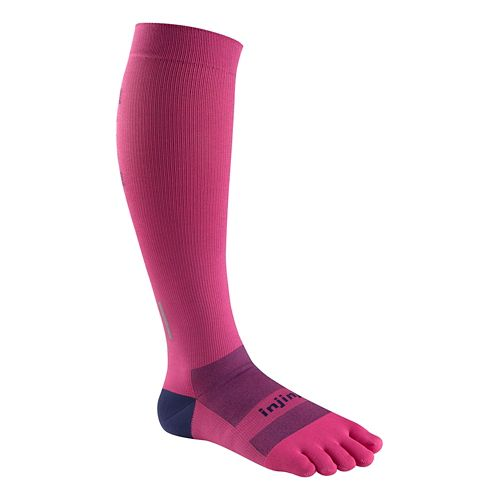Womens Injinji Ultra Compression Over The Calf Socks - Pink XS/S
