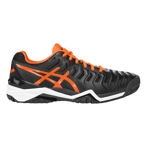 Mens ASICS Gel-Resolution 7 Court Shoe - Black/Orange 6.5