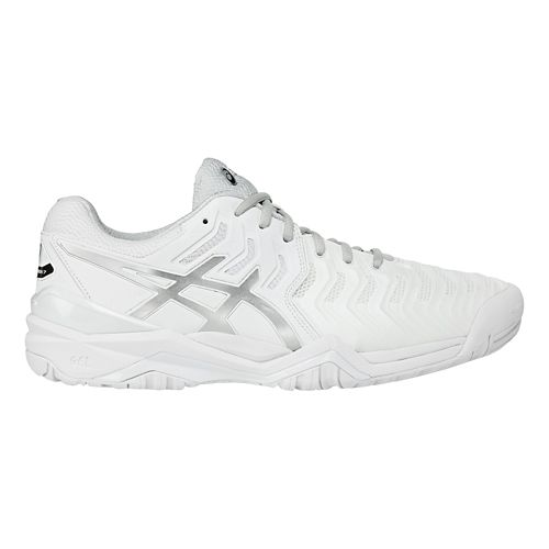 Mens ASICS Gel-Resolution 7 Court Shoe - White/Silver 11.5