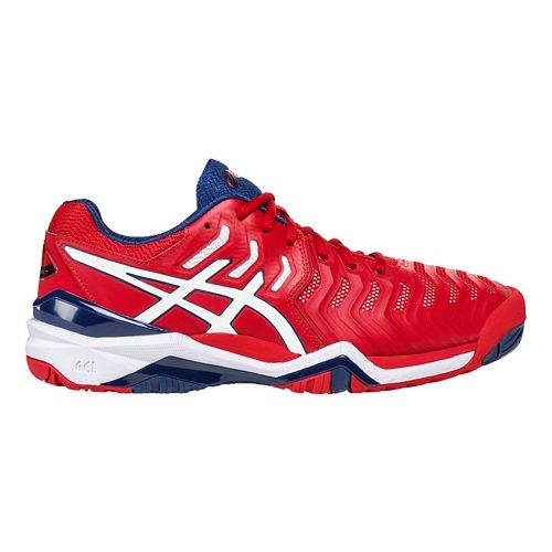 Mens ASICS Gel-Resolution 7 Court Shoe - Red/White 11.5