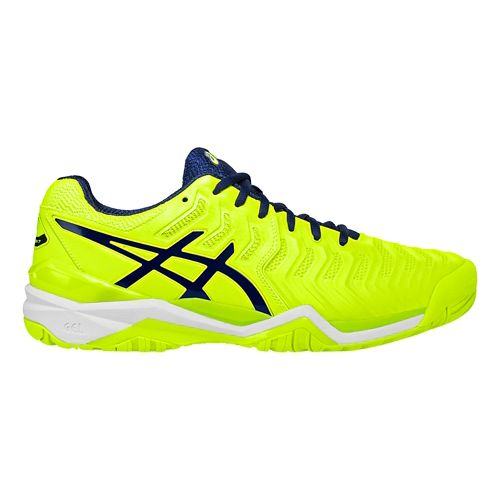 Mens ASICS Gel-Resolution 7 Court Shoe - Yellow/Blue 12.5