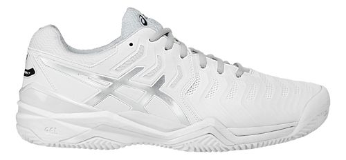 Mens ASICS Gel-Resolution 7 Clay Court Shoe - White/Silver 10.5