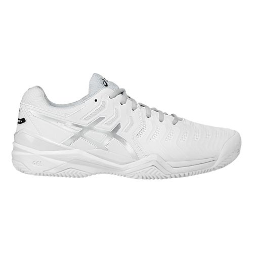 Mens ASICS Gel-Resolution 7 Clay Court Shoe - White/Silver 14